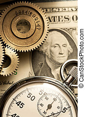 Mechanical ratchets, stopwatch and dollar