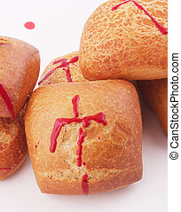 bread rolls - Bread rolls with traces of blood as cross