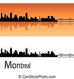 Montreal skyline in orange background in editable vector...