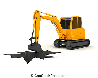 3d orange digger working on white background computer...