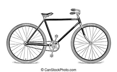 Bicycle Engraving Isolated on White - This vintage bicycle...