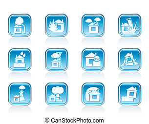 home and house insurance icons - home and house insurance...
