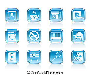 hotel and motel amenity icons