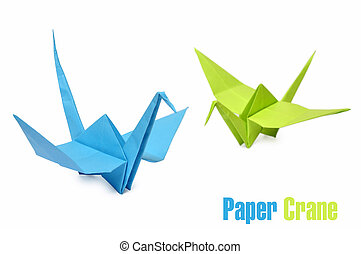origami cranes - Traditional Japanese origami cranes made...
