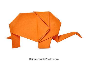 origami elephant - Origami elephant from orange paper...