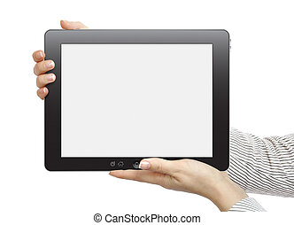 touch screen device - Female hands are holding the touch...