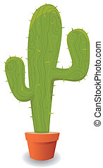 Cartoon Mexican Cactus - Illustration of a cartoon cactus...