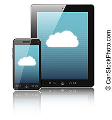 Cloud-computing connection on digital tablet pc and modern...