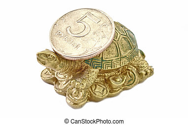 Turtle with Coin Rouble Feng Shui