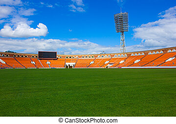 football field - empty football field with score board and...