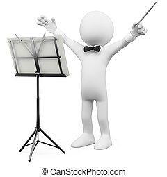 3D conductor leading the orchestra Rendered at high...