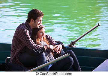 Close up of couple on small boat - Close up portrait of...