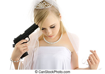 Young bride - Young girl with a wedding dress and pistol in...