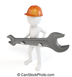 3d man engineer with wrench