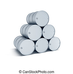 isolated silver oil barrels