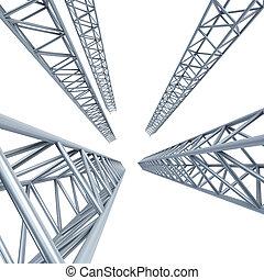 steel girders - steel girder, isolated 3d render