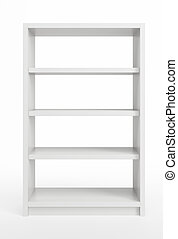 white bookcase - modern white bookcase, 3d render