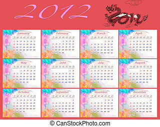 Calendar 2010, January on Water Color
