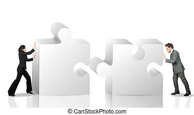 Business partner move puzzle pieces