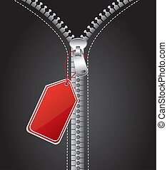 zip with tag vector - silver zip with red tag, background....
