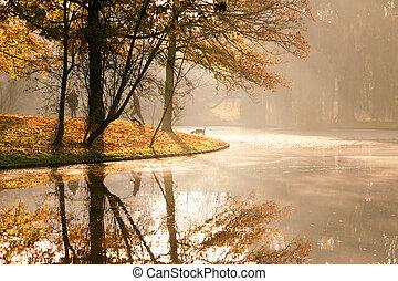 autumn sunrise in the park