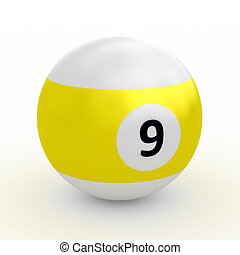 Colorful pool ball over white - Single colorful pool ball on...
