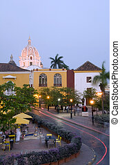 Cartagena Colombia South America - night scene car light...