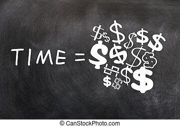 Time is Money written on a blackboard,with various dollar...
