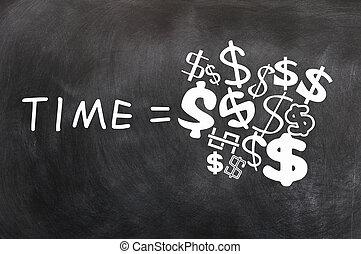 Dinheiro, escrito, quadro-negro, tempo
