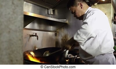 Chef cooking in restaurant kitchen - Professional cook...