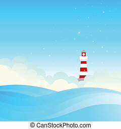 Lighthouse on the sea fairy shore. Vector illustration.