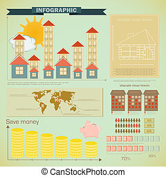 Vintage infographics set - house construction