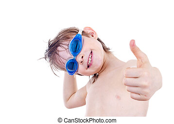 Boy in Swimming Goggles