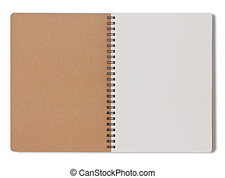 Blank notebook make from recycle paper on white background
