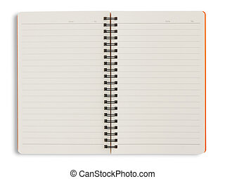 Blank orange notebook on white background with clipping path