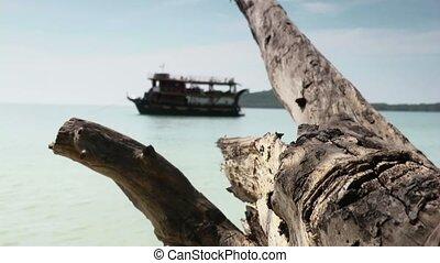 Tourist boat, tropical island, sea