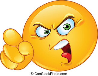 Accusing emoticon - Angry emoticon pointing an accusing...