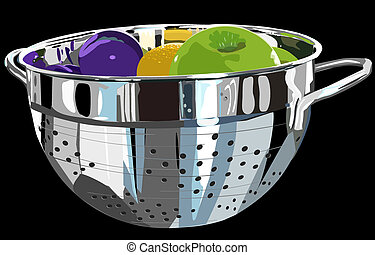 Metal colander and fruit - Illustration of a stainless steel...