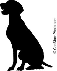 German Pointer - A silhouette, profile view of a sitting...