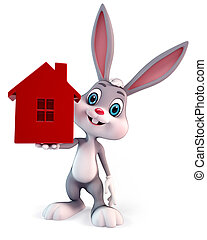 Easter bunny - 3d rendered illustration of a cute easter...