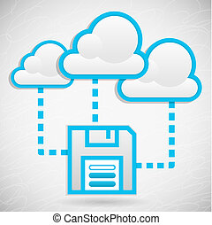 Cloud Data Storage - Illustration of remote data storage in...