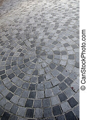 Close-up of circle stone floor tiles for outdoor