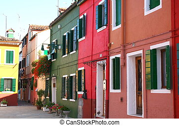 Burano - Typical colored houses in the island of Burano,...