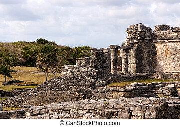 Crumbling Mayan Ruins at Tulum - Crumbling ruins at the...