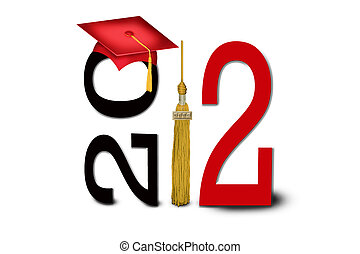 Class of 2012 - Gold tassel and red graduation cap for class...