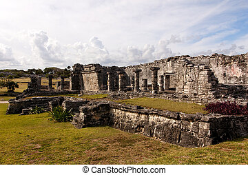 Large Mayan Building at Tulum - Crumbling remains of a large...