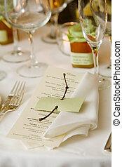Wedding table with menu