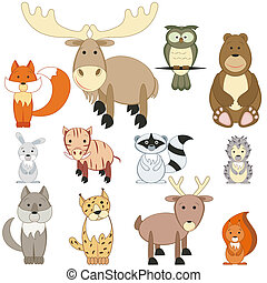 Forest animals set - Cute cartoon forest animals set on...