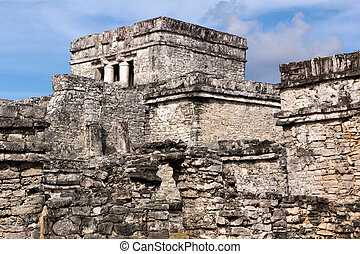 Mayan Building Complex at Tulum - A warren of walls and...