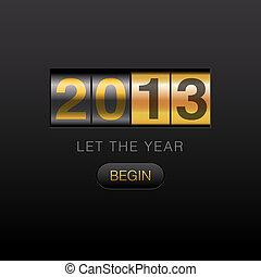 nouveau, année, compteur, 2013